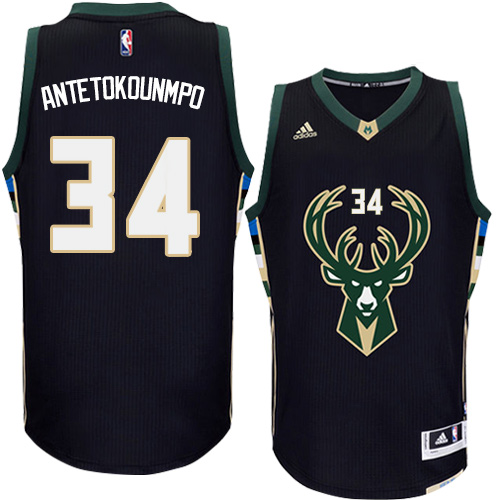 Mens Adidas Milwaukee Bucks 34 Giannis Antetokounmpo Authentic Black  Alternate NBA Jersey 654c54537