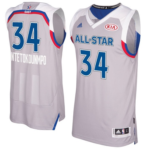 Mens Adidas Milwaukee Bucks 34 Giannis Antetokounmpo Authentic Gray 2017  All Star NBA Jersey 26acd86aa