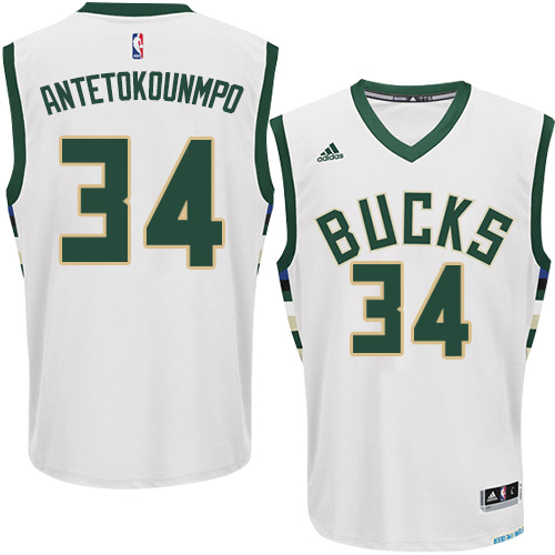 Mens Adidas Milwaukee Bucks 34 Giannis Antetokounmpo Swingman White Home  NBA Jersey c4ff7de36