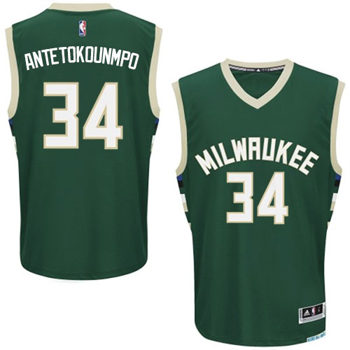 5b0652706 Youth Adidas Milwaukee Bucks 34 Giannis Antetokounmpo Authentic Green Road  NBA Jersey