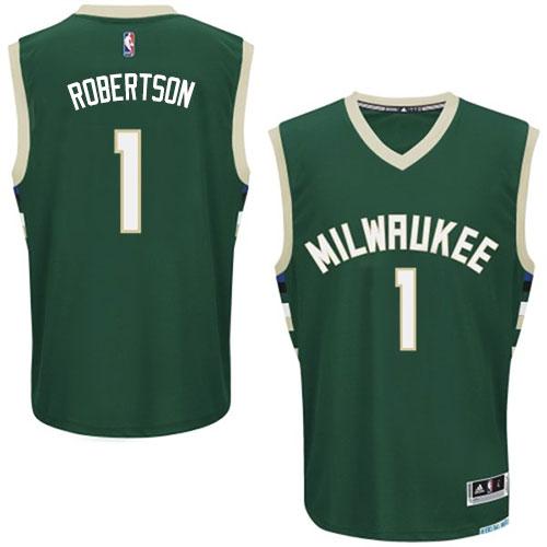 5b40798dc75 Mens Adidas Milwaukee Bucks 1 Oscar Robertson Authentic Green Road NBA  Jersey