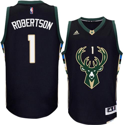 06c06af9cbe Mens Adidas Milwaukee Bucks 1 Oscar Robertson Authentic Black Alternate NBA  Jersey