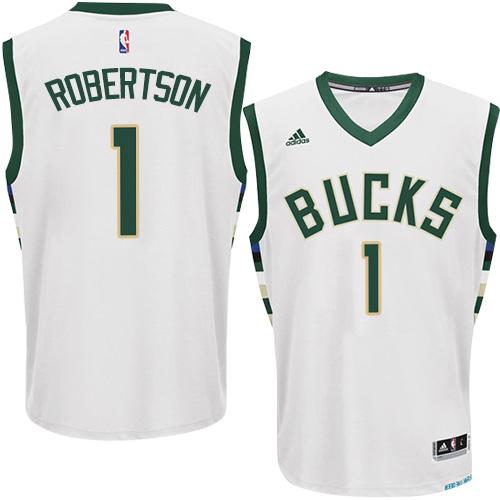 9380dccf38c Mens Adidas Milwaukee Bucks 1 Oscar Robertson Swingman White Home NBA Jersey