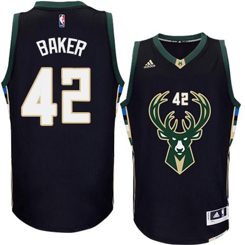 Mens Adidas Milwaukee Bucks 42 Vin Baker Swingman Black Alternate NBA Jersey 887f33169