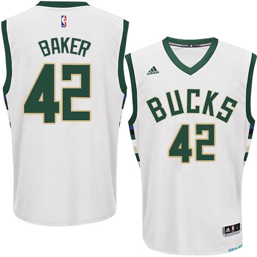 Mens Adidas Milwaukee Bucks 42 Vin Baker Swingman White Home NBA Jersey 794dfdae9